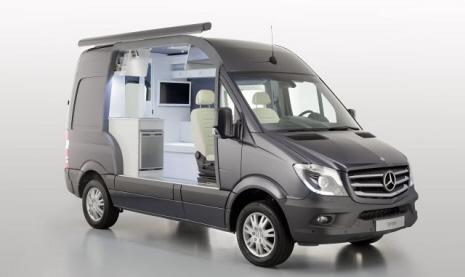 Mercedes-Benz Sprinter:  Der ausgebaute Kastenwagen zeigt im Schnittmodell seine Wohnmobiltauglichkeit.